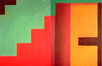 """Exits/Entrances Diptych 1,2"" Acrylics and oils on board 76cm x 56cm x 2  (c) 2003 Megan O'Beirne"