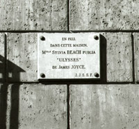 Plaque in Rue de l'Odeon commemorating publication by Sylvia Beach of 'Ulysses'